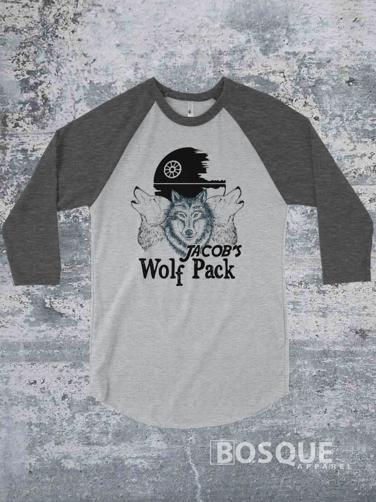 Jacob's Wolf Pack - MDA Fund Raiser Dark Heather on Heather Grey 3/4 Sleeve Baseball Raglan Tee Top Shirt - Ink Printed