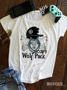 Jacob's Wolf Pack - MDA Fund Raiser white Dolman Tee Shirt