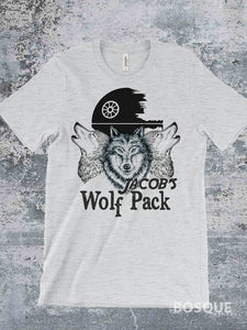 Jacob's Wolf Pack - MDA Fund Raiser Heather White Ink Printed Tee Shirt