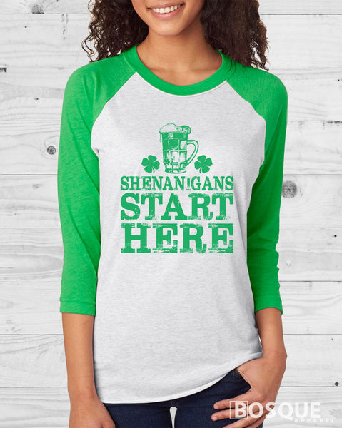 Shenanigans Start Here St. Patrick's Day 3/4 Sleeve Baseball Raglan Tee Top Shirt - Ink Printed
