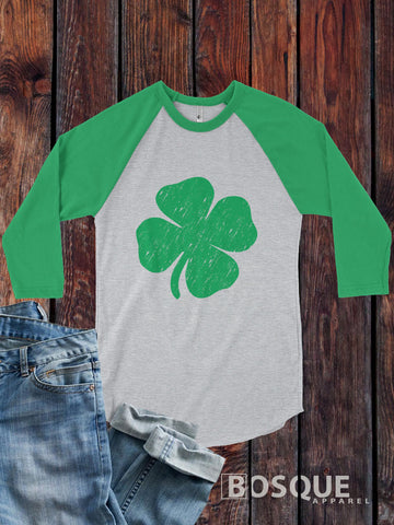 Shamrock four leaf clover design St. Patrick's Day 3/4 Sleeve Baseball Raglan Tee Top Shirt - Ink Printed
