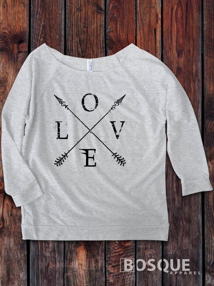 Love Crossed Arrows BoHo design on a 3/4 Sleeve French Terry Raw Edge Raglan Tee Top Shirt - Ink Printed