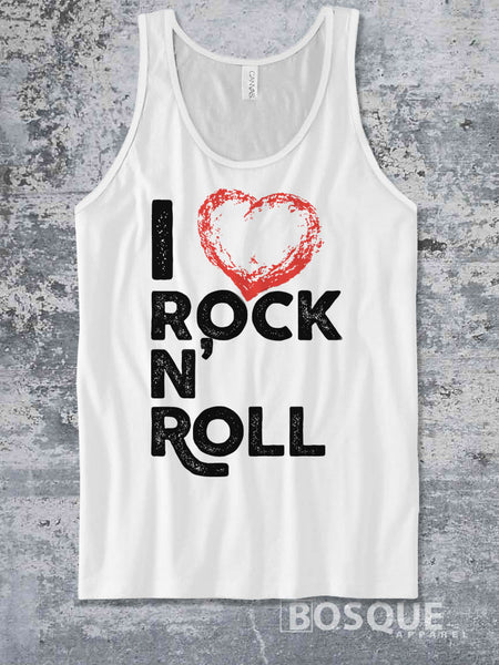 I Love Rock N' Roll Music Festival I heart rock and roll music Ink Printed Concert Tank Top