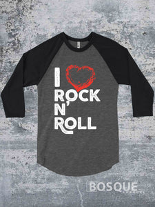 I Love Rock N' Roll Music Festival I heart rock and roll music Ink Printed Concert Baseball Raglan Shirt