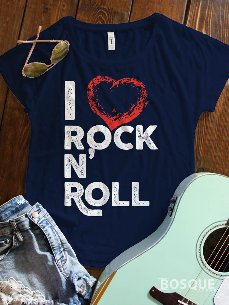 I Love Rock N' Roll Music Festival I heart rock and roll music Ink Printed Dolman Tee Shirt