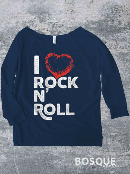I Love Rock N' Roll Music Festival I heart rock and roll music Ink Printed Concert Raw Edge French Terry Raglan