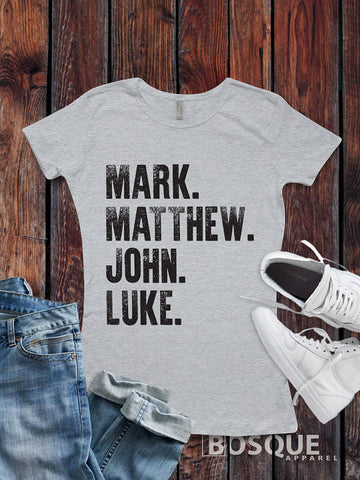 Mark Matthew John Luke Style T Shirt Religious Inspirational Style Tee - Ink Printed