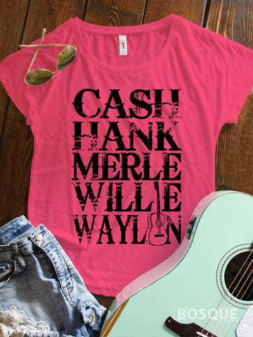 Merle, Cash, Hank, Willie, Waylon Style Shirt Legends of Country Music Southern Style Ink Printed Dolman Tee Shirt