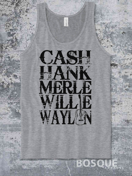 Merle, Cash, Hank, Willie, Waylon Style Shirt Legends of Country Music Tank Top Southern Style - Ink Printed Tank Top