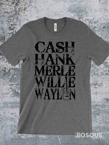 Merle, Cash, Hank, Willie, Waylon Style Shirt Legends of Country Music T-Shirt Southern Style - Ink Printed