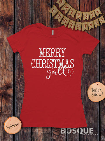 Merry Christmas Y'all Christmas Holiday shirt - Ink Printed T-Shirt