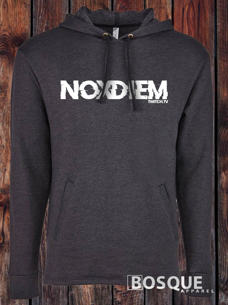NoxDiem Glitched Retro Logo Twitch Streamer NoxDiem Fleece Hoodie - Ink Printed Pullover