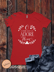 O Come Let Us Adore Him - Faith Inspired Christmas Holiday shirt - Ink Printed T-Shirt