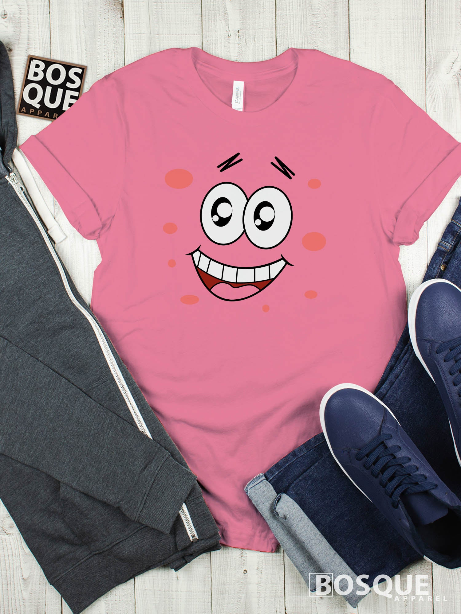Spongebob & Friends Patrick Star Face Premium Tee | Long Tee Shirt | Hoodie | Sweatshirt | Tank-Top …