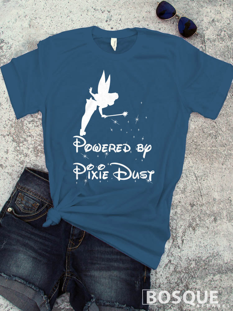 Powered by Pixie Dust Tinkerbell shirt - Ink Printed T-Shirt