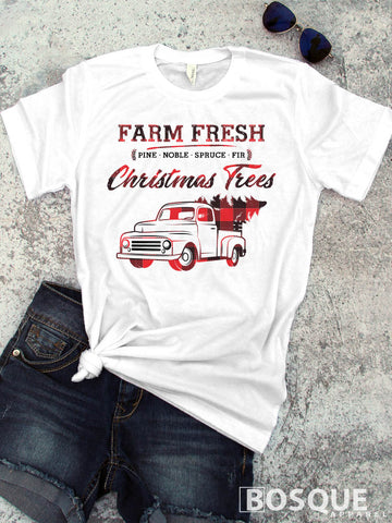 In Color Plaid Truck - Country Farm Fresh Christmas Trees - Ink Printed T-Shirt