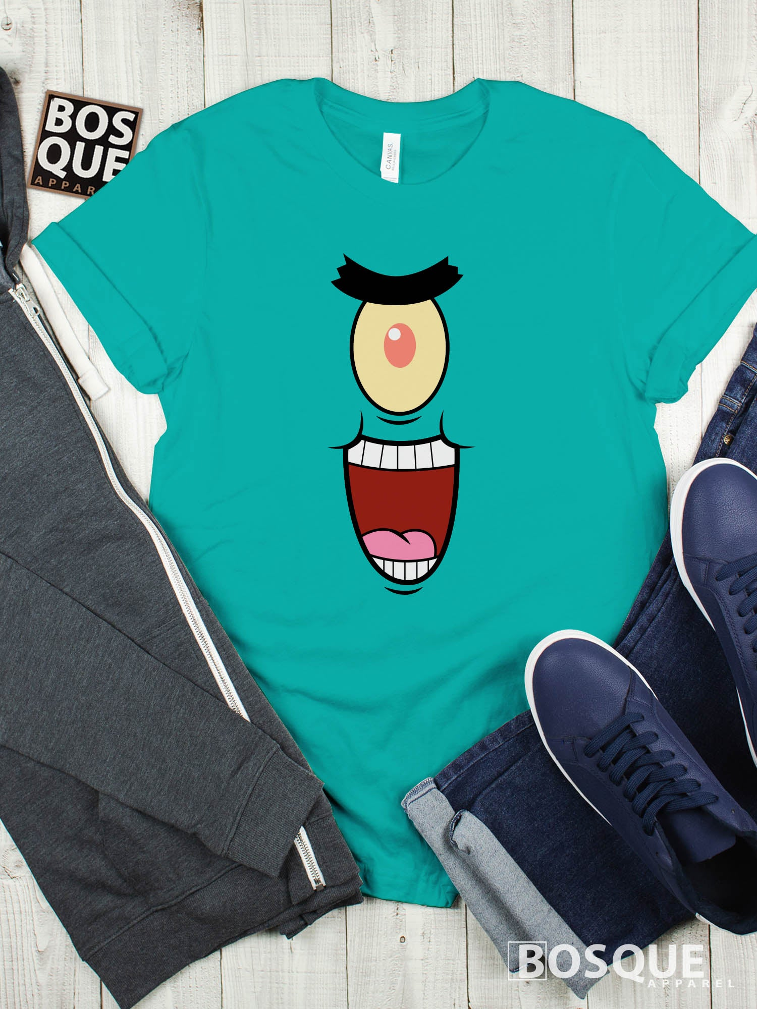 Spongebob & Friends Plankton Face Premium Tee | Long Tee Shirt | Hoodie | Sweatshirt | Tank-Top …