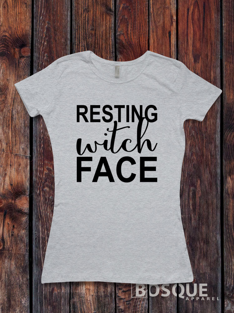 Resting Witch Face - funny witch  / Women's T-shirt Top Tee Shirt Script design Halloween shirt - Ink Printed