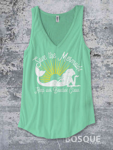 Save the Mermaids - Keep our Beaches Clean -  Summer Top beach tank Shirt design Shirt - Ink Printed Tank Top