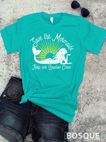 Save the Mermaids - Keep our Beaches Clean - Summer beach tee shirt - Ink Printed T-Shirt