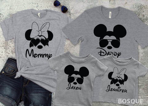 Mickey and Minnie Inspired Family Matching Personalized shirts - Ink Printed T-Shirt