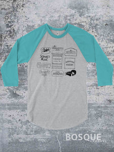 Stars Hollow shops and locations - Gilmore Girls inspired design on a 3/4 Sleeve Baseball Raglan Tee Top Shirt - Ink Printed