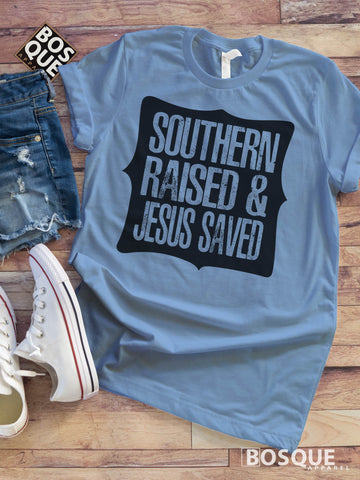 Southern Raised Jesus Saved Distressed Country Faith Southern Style Tee - Ink Printed T-Shirt