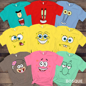 Spongebob & Friends Group Costume Halloween Family Squad Matching Cartoon Characters Tee Shirt | Long Tee Shirt | Tank-Top Ink Printed