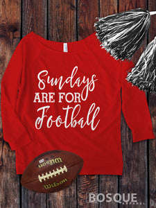 Sundays are for Football on a 3/4 Sleeve French Terry Raw Edge Raglan Tee Top Shirt - Ink Printed