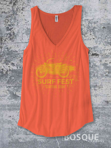 Surf Fest Vintage Cafe Racer motorcycle -  Summer Top beach tank Shirt design Shirt - Ink Printed Tank Top