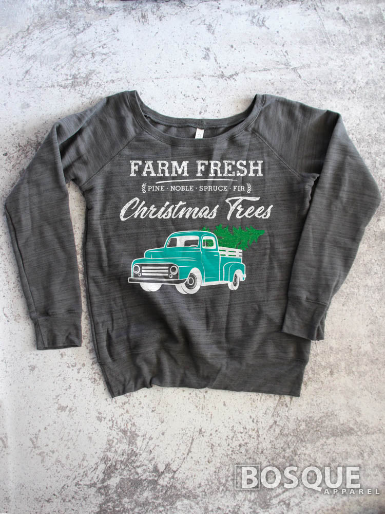 In Color Teal Truck - Country Farm Fresh Christmas Trees - Ink Printed Sweatshirt