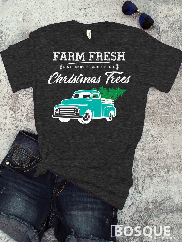 In Color Teal Truck - Country Farm Fresh Christmas Trees - Ink Printed T-Shirt