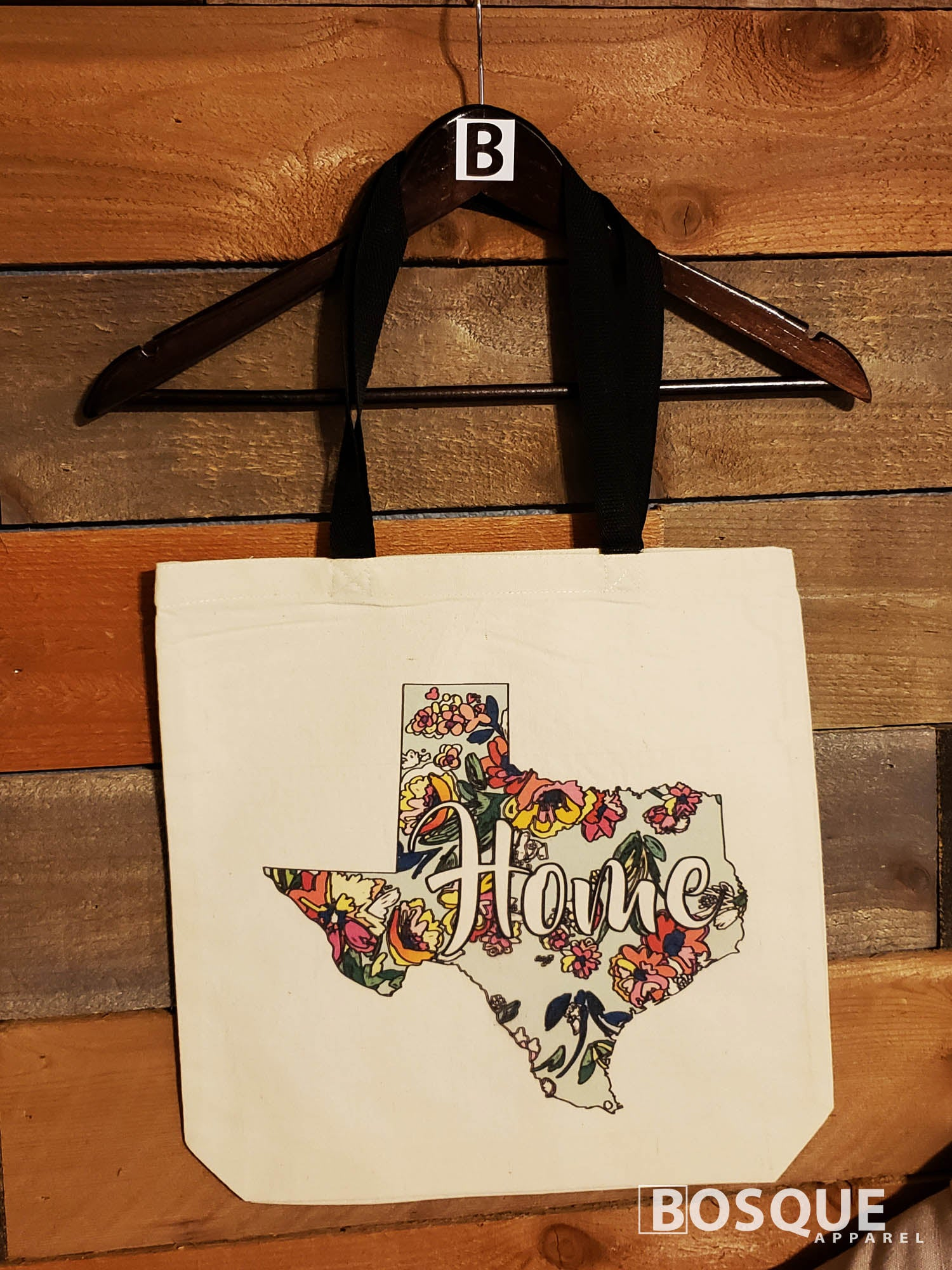 Texas Home Flowered design 100% cotton canvas tote - Ink Printed tote bag