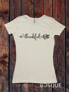 Thankful Arrow - T-Shirt Top Tee Arrow Feather Shirt Thanksgiving Shirt Holiday shirt - Ink Printed