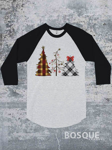 Christmas Trees Boho Flannel Ink Printed 3/4 Sleeve Baseball Raglan Tee
