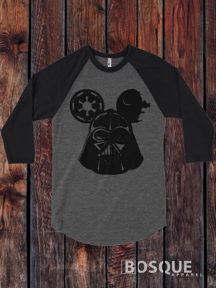 Darth Vader Mickey Mouse Inspired 3/4 Sleeve Baseball Raglan Tee Top Shirt - Ink Printed