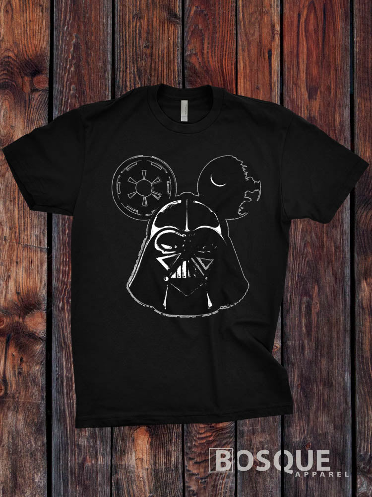 Darth Vader Mickey Mouse Inspired design - Ink Printed T-Shirt