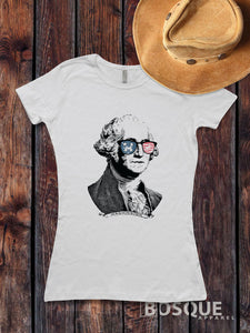 Presidents' Day George Washington USA Flag sunglasses Pop Culture T-Shirt Patriotic Style Shirt lettering - Ink Printed