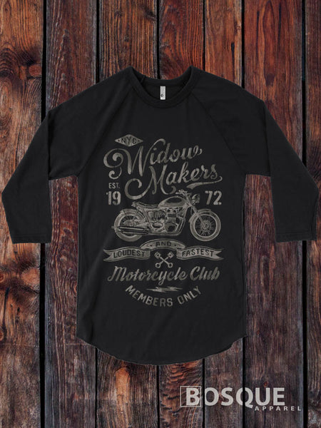Widow Makers Motorcycle Club Vintage style 3/4 Sleeve Baseball Raglan Tee Top Shirt - Ink Printed