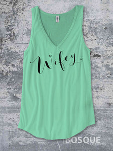 4295a9d43 Wifey Tank Top / Women's Wife Bride Bride to be Tank Top Script design - Ink