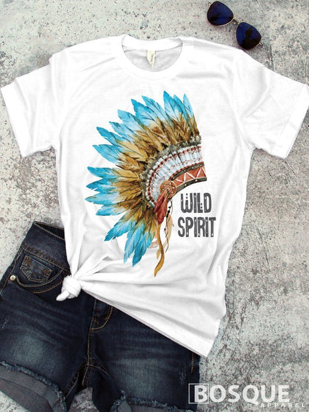 Wild Spirit Indian Headdress Aztec boho style - Country T-Shirt Southern Distressed BoHo style Tee - Ink Printed