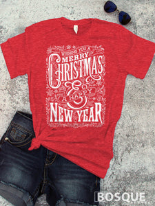 Wishing You a Merry Christmas & a Happy New Year - Ink Printed T-Shirt