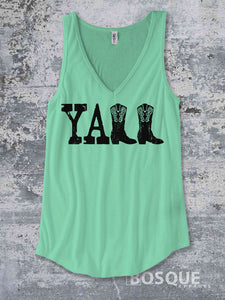 Yall Distressed Southern Country boots y'all design Style Ink Printed Concert Tank Top