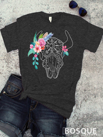 Buffalo Flowred Aztek Skull - BoHo Bison Buffalo Distressed - Ink Printed T-Shirt