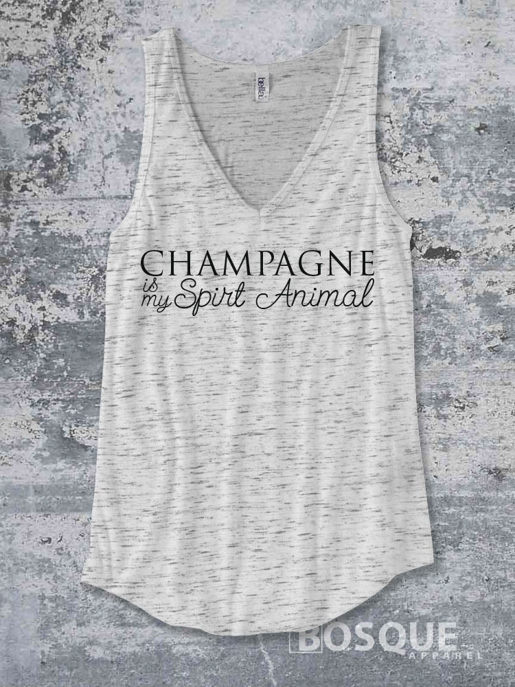 Champagne is my spirit animal tank top / Funny Drinking Top concert tank Shirt design Shirt - Ink Printed Tank Top