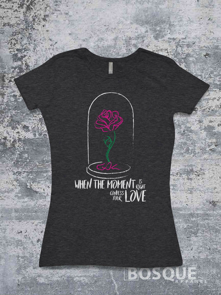 Confess your love, Beauty & the Beast inspired tee - Ink Printed T-Shirt