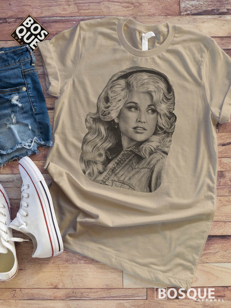 Dolly Black and White Style -  Country Music Inspired Southern Style Tee - Ink Printed T-Shirt