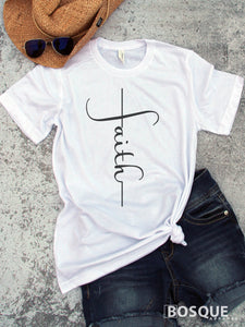 Faith Cross faith inspired tee - Easter shirt - Ink Printed T-Shirt