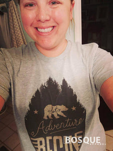 Let Adventure Begin T-Shirt Top Tee Shirt with Bear and Moutain design Shirt - Ink Printed
