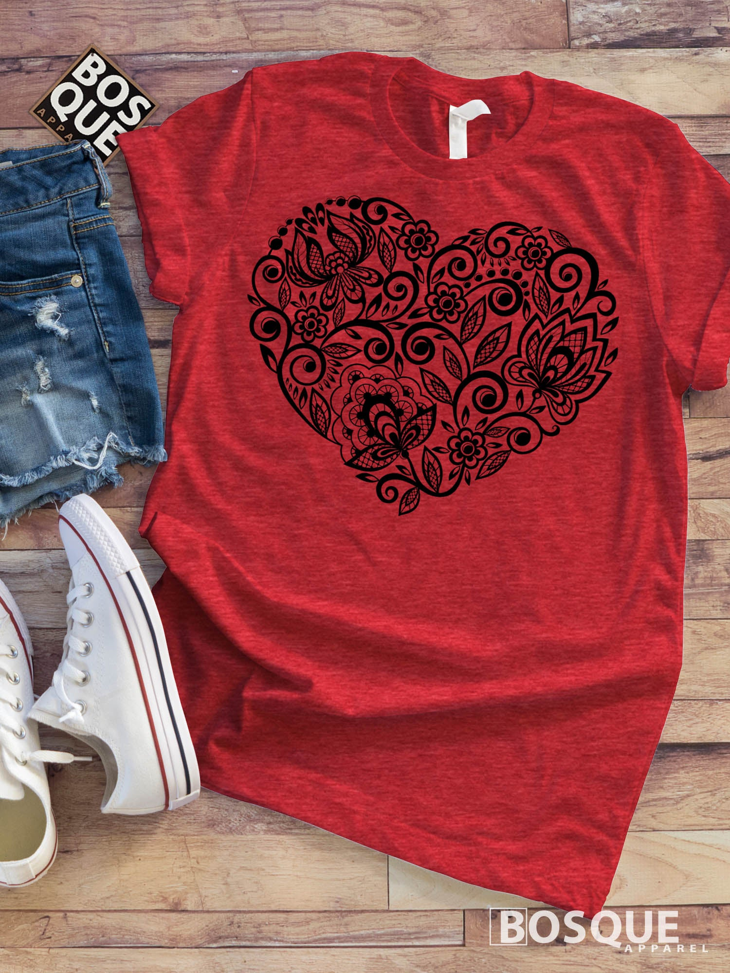 Paisley Flower Heart rose shirt - Ink Printed T-Shirt